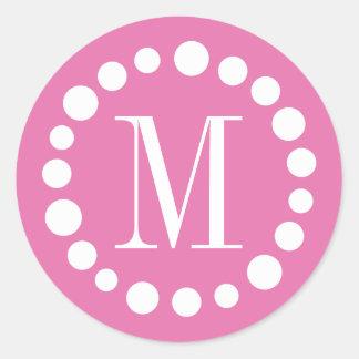 Monogram Pink Round Sticker