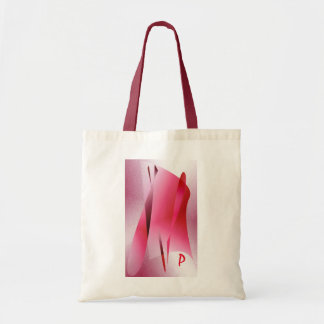 Monogram & Pink shapes Red White Tote Bag