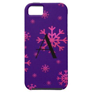 monogram pink snowflakes purple iPhone 5 cases