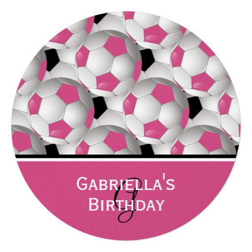 Monogram Pink Soccer Ball Pattern Birthday Party Personalized Invites