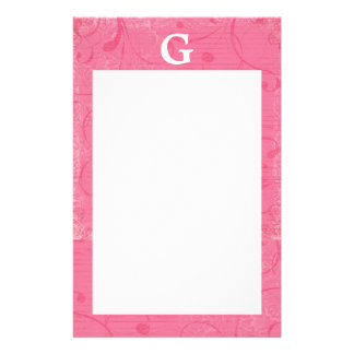 Monogram Pink Stationary Stationery