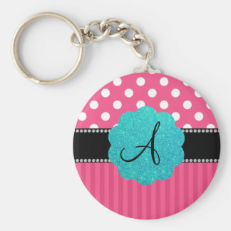 Monogram pink stripe polka dots keychain