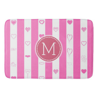 Monogram Pink Stripes Modern Heart Pattern Bath Mat