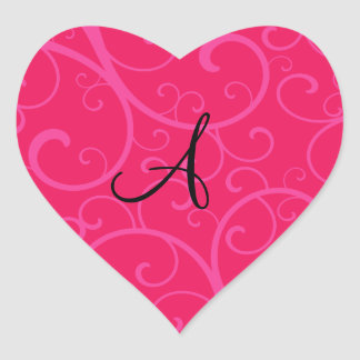 Monogram pink swirls heart sticker