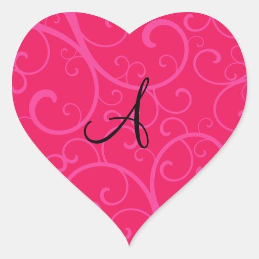 Monogram pink swirls heart sticker