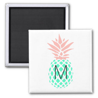 monogram pink teal pineapple magnet