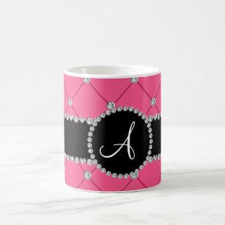 Monogram pink tuft diamonds mug