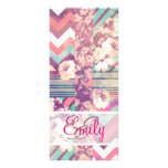 Monogram Pink Turquoise Floral Stripe Chevron Full Colour Rack Card