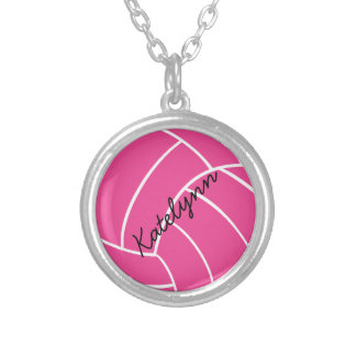 Monogram Pink Volleyball Necklace