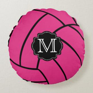 Monogram Pink Volleyball Round Throw Pillow