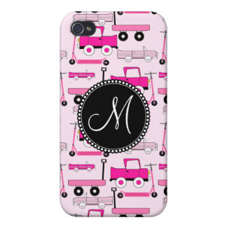 Monogram Pink Wheels Cars Trucks Scooters Wagons iPhone 4/4S Case