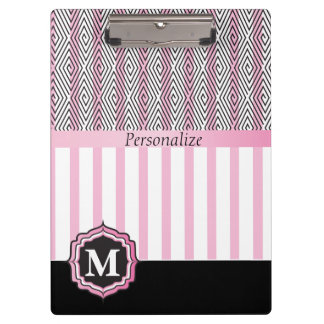 Monogram Pink, White and Black Clipboard