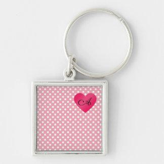 Monogram pink white polka dots key chain