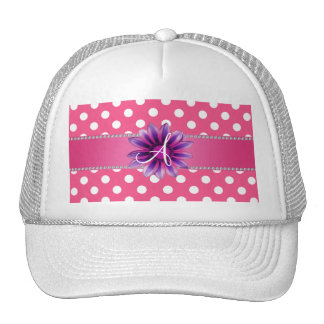 Monogram pink white polka dots purple daisy mesh hats