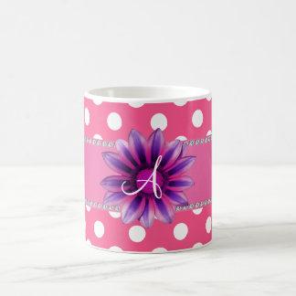 Monogram pink white polka dots purple daisy mug