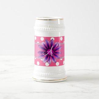 Monogram pink white polka dots purple daisy mugs