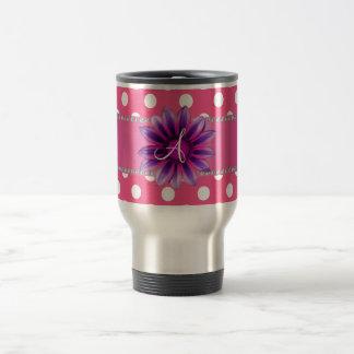 Monogram pink white polka dots purple daisy coffee mugs