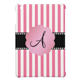 Monogram pink white stripes cover for the iPad mini