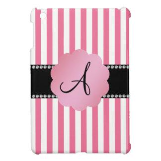 Monogram pink white stripes iPad mini cover
