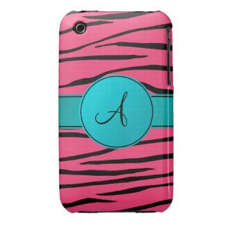 Monogram pink zebra stripes turquoise circle Case-Mate iPhone 3 cases