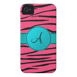 Monogram pink zebra stripes turquoise circle iPhone 4 case