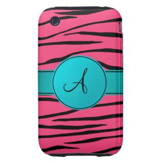 Monogram pink zebra stripes turquoise circle iPhone 3 tough case