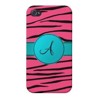 Monogram pink zebra stripes turquoise circle iPhone 4/4S cover