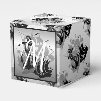 Monogram Pirate Ship & Anchor Cube Favor Box 2 Favour Boxes