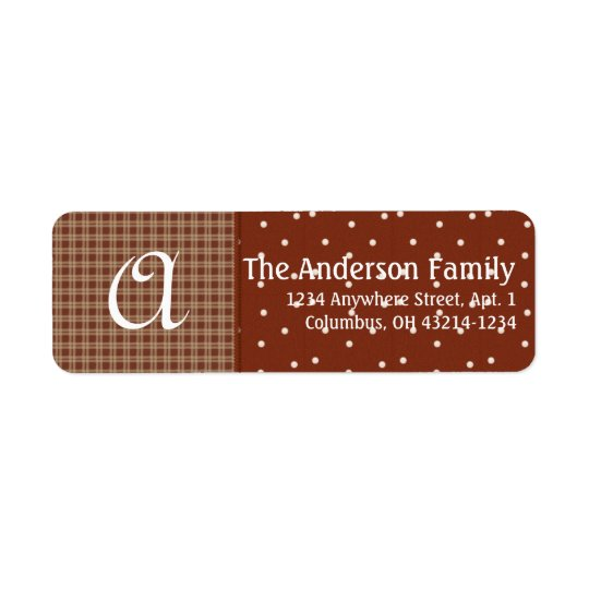 Monogram Plaid & Dots D1 Return Address Label
