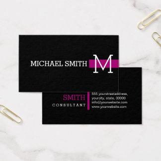 Monogram Plain Black Modern Flirt Business Card