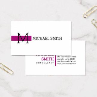 Monogram Plain White Elegant Modern Flirt #2 Business Card