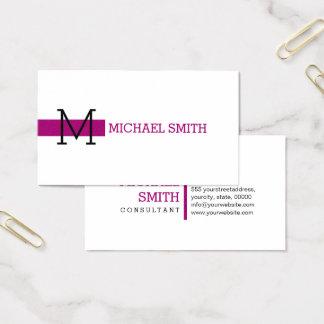 Monogram Plain White Elegant Modern Flirt Business Card