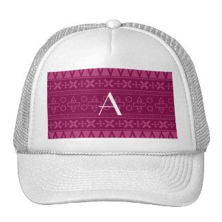 Monogram plum purple aztec pattern mesh hats