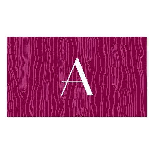 Monogram plum purple faux bois business card