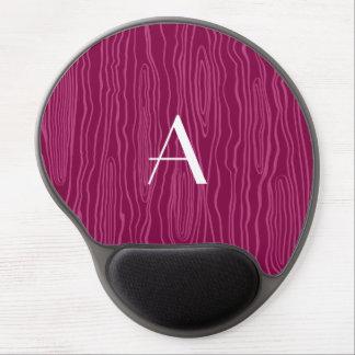 Monogram plum purple faux bois gel mouse pad