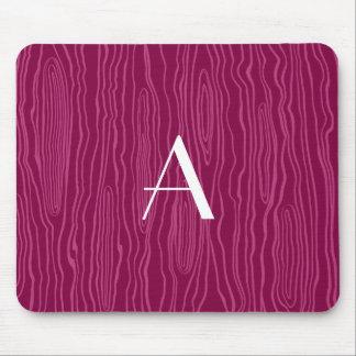 Monogram plum purple faux bois mouse pad