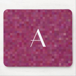 Monogram plum purple mosaic squares mouse pad