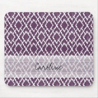 Monogram Plum Purple Tribal Ikat Diamond Pattern Mouse Mat