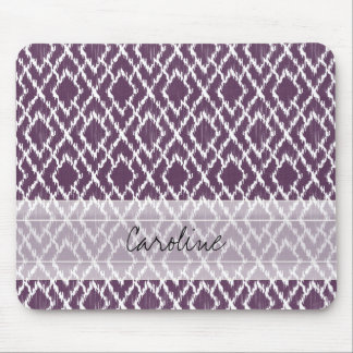 Monogram Plum Purple Tribal Ikat Diamond Pattern Mouse Pad
