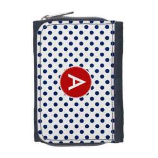 Monogram Polka Dot Navy White Background Wallet