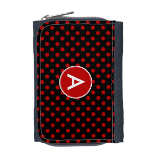 Monogram Polka Dot Red Black Background Wallet