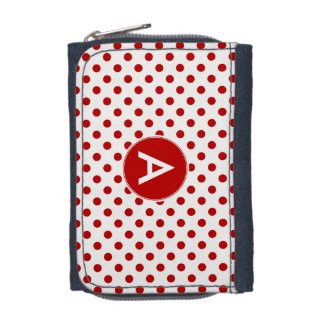 Monogram Polka Dot Red White Background Wallet