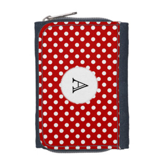 Monogram Polka Dot White Red Background Wallet