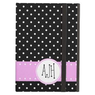 Monogram - Polka Dots, Dotted Pattern - Black iPad Air Cover
