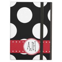 Monogram - Polka Dots, Spots - White Black Red