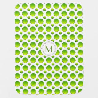Monogram. Polka green pattern Baby Blanket