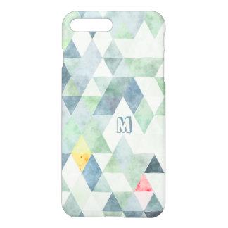 Monogram Polygon Triangles Multi-Teal Blue Pattern iPhone 7 Plus Case