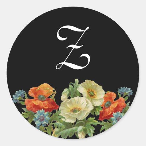 Monogram Poppies and Cornflowers Stickers