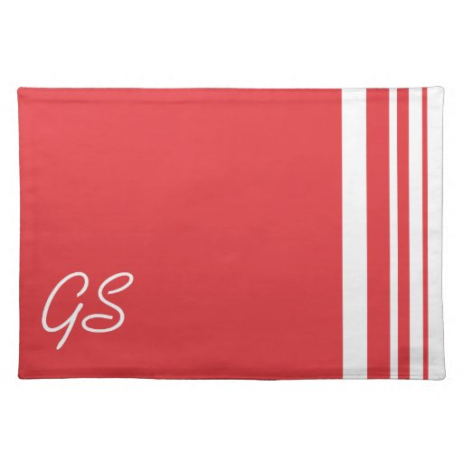 Monogram Poppy Red Trio Stripes with White Place Mats
