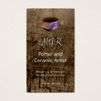 Monogram, Potter, Ceramic Artist, leather-effect Business Card